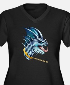 Dragon and Gold Chain Women's Plus Size V-Neck Dar