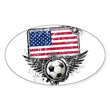 Soccer Fan United States Sticker (Oval 50 pk)