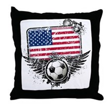 Soccer Fan United States Throw Pillow