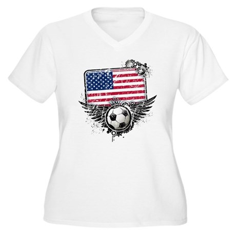 Soccer Fan United States Women's Plus Size V-Neck