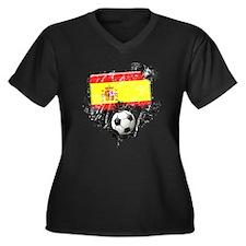 Soccer Fan Spain Women's Plus Size V-Neck Dark T-S
