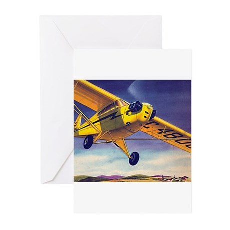 Piper Cub In Flight Greeting Cards (Pk of 10)