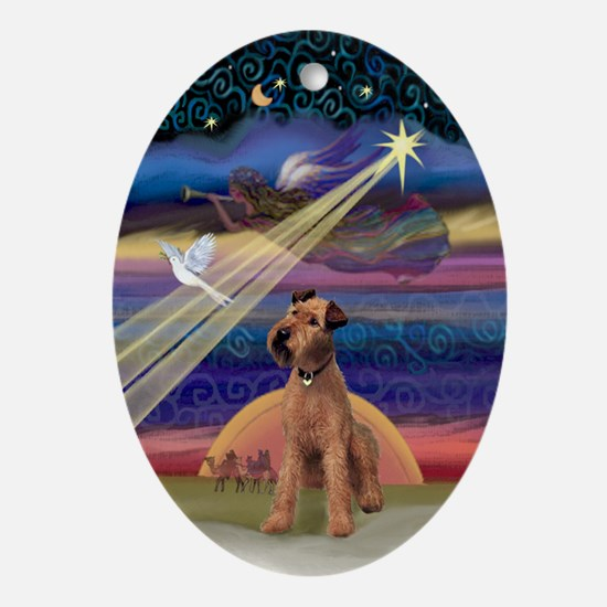 Irish Terrier & Christmas Star Oval Ornament