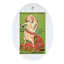 Vintage Pig Sausage Ad Ornament (Oval)