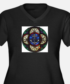 Stained Glass Fouled Anchor Women's Plus Size V-Ne