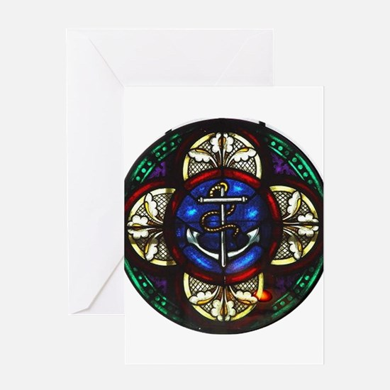 Stained Glass Fouled Anchor Greeting Card