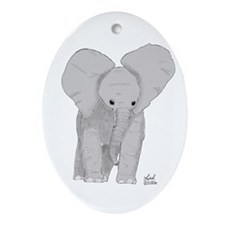 Elephant calf Oval Ornament