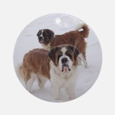 Saint Bernards in the snow Ornament (Round)