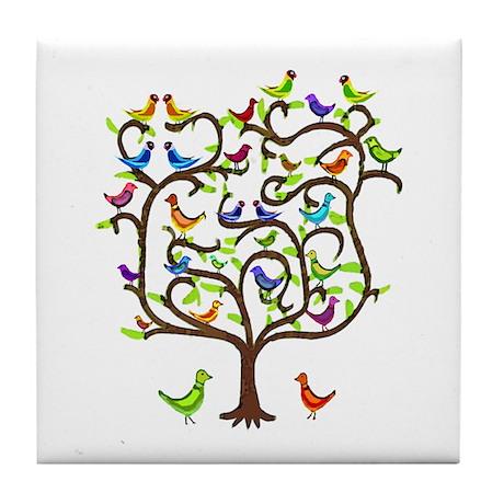 bird tree Tile Coaster