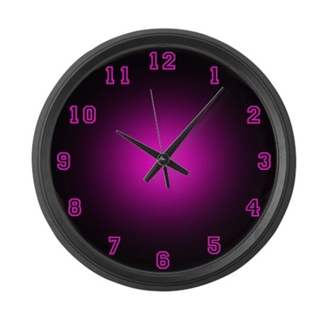 Large Pink Neon Face Wall Clock By Arklights