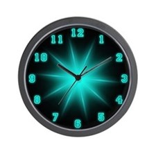 Blue Neon Star Wall Clock