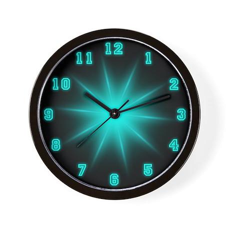 Blue Neon Star Wall Clock
