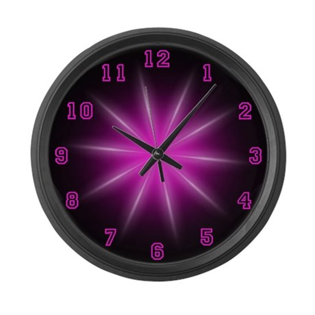 Large Pink Neon Star Wall Clock