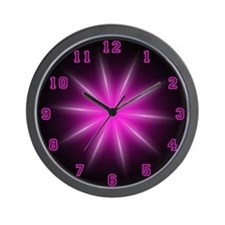 Pink Neon Star Wall Clock
