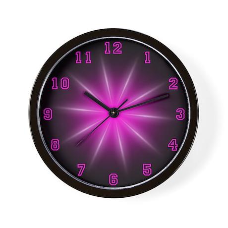 Pink Neon Star Wall Clock