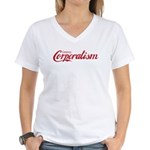 Destroy Corporatism Women's V-Neck T-Shirt