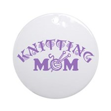 Knitting Mom Ornament (Round)