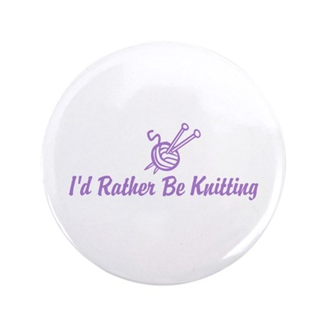 """Funny knitting 3.5"""" Button"""