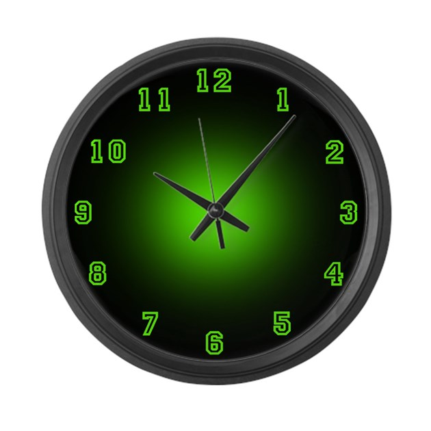 Large Green Neon Face Wall Clock By Arklights