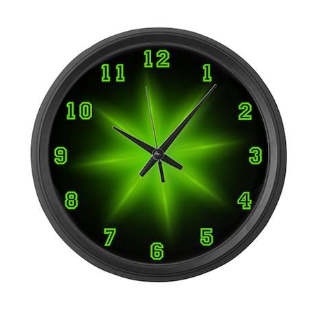 Large Green Neon Star Wall Clock
