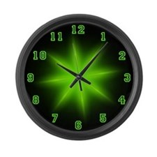 Large Green Neon Star Wall Clock