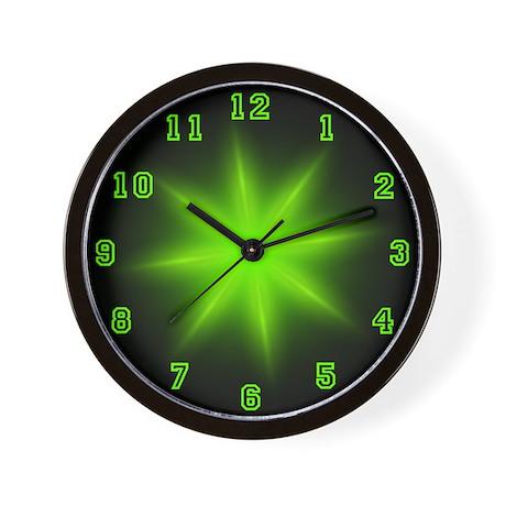 Green Neon Star Wall Clock