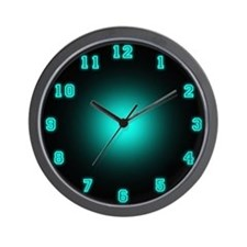 Blue Neon Face Wall Clock