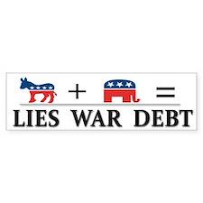 Lies - War - Debt ~ Car Sticker
