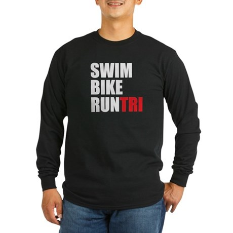 Swim Bike Run Tri Long Sleeve Dark T-Shirt