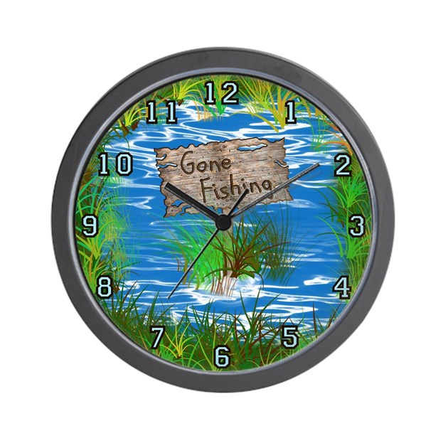 Gone fishing wall clock by arklights for Fish wall clock