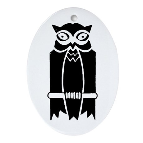 Owl Silhouette Ornament (Oval)