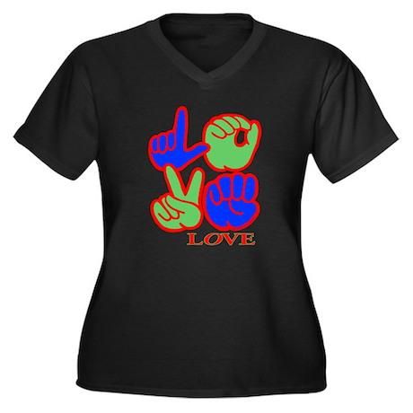 Square F.S. LOVE Women's Plus Size V-Neck Dark T-S