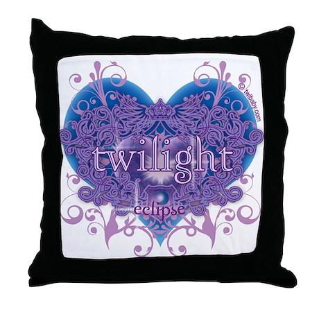 Twilight Eclipse Purple Heart Throw Pillow