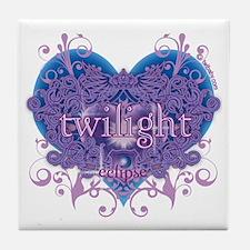 Twilight Eclipse Purple Heart Tile Coaster
