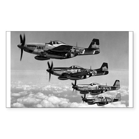 P-51 Formation Rectangle Sticker