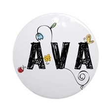 Ava Floral Ornament (Round)