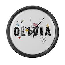 olivia floral Large Wall Clock