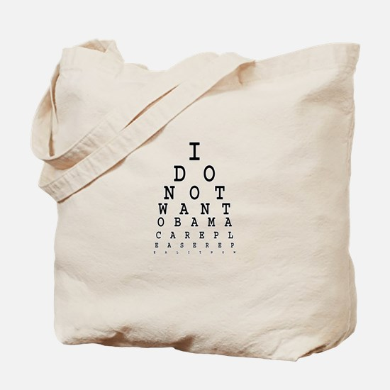 Obamacare eye test. Tote Bag