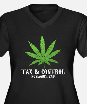 Tax Control Women's Plus Size V-Neck Dark T-Shirt
