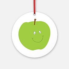 Happy Green Apple Ornament (Round)
