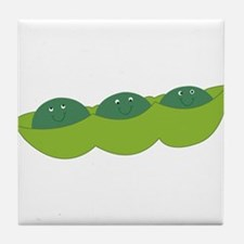 Happy peas Tile Coaster