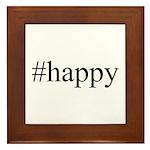 #happy Framed Tile