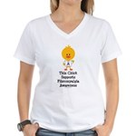 Fibromyalgia Awareness Chick Women's V-Neck T-Shir