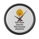 Fibromyalgia Awareness Chick Large Wall Clock