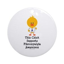 Fibromyalgia Awareness Chick Ornament (Round)