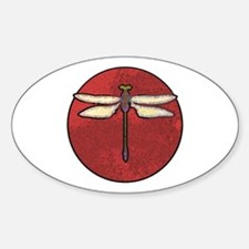 Dragonfly Moon Oval Decal