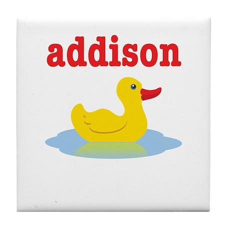 Addison's rubber ducky Tile Coaster