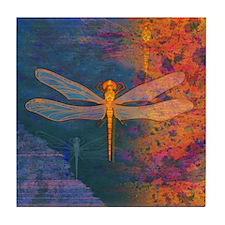 Flaming Dragonfly Art Tile
