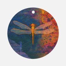 Flaming Dragonfly Ornament (Round)
