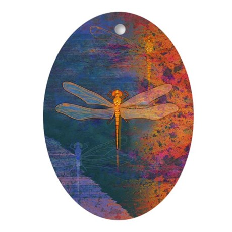 Flaming Dragonfly Oval Ornament